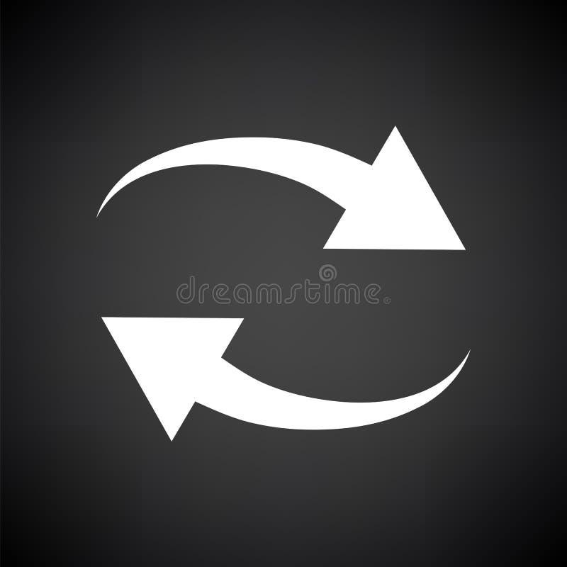Interaction Icon. White on Black Background. Vector Illustration royalty free illustration