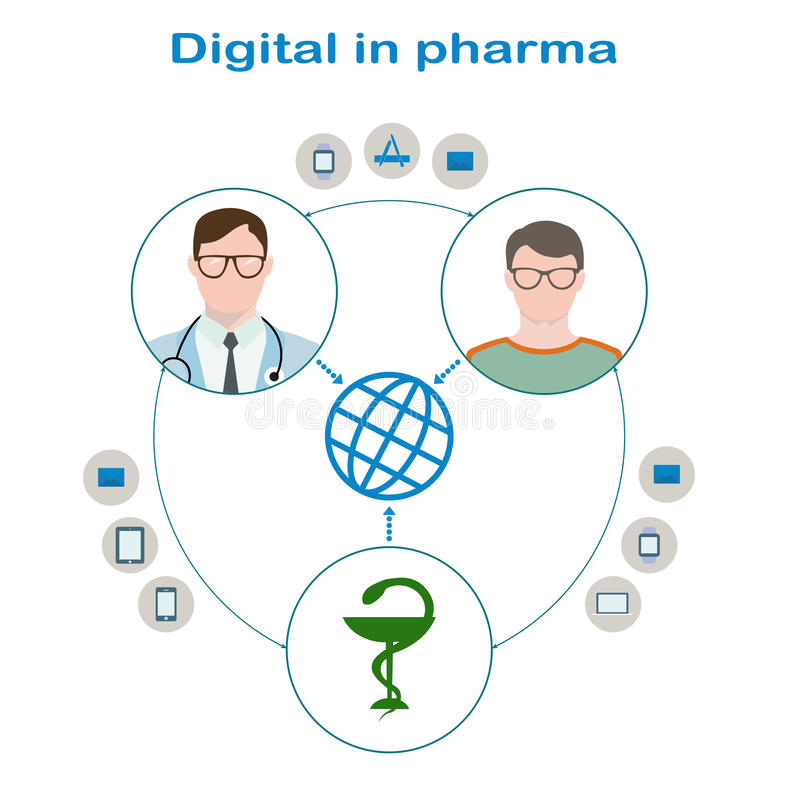 Interaction of the patient with glasses and a sweater, a doctor in glasses with phonendoscope and pharmaceutical companies. Through Digital. Icons mail stock illustration