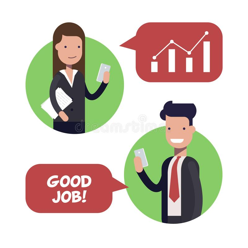 Interaction between two employees of businessmen or managers. The boss praises the subordinate. Working conditions. Flat. Vector illustration royalty free illustration