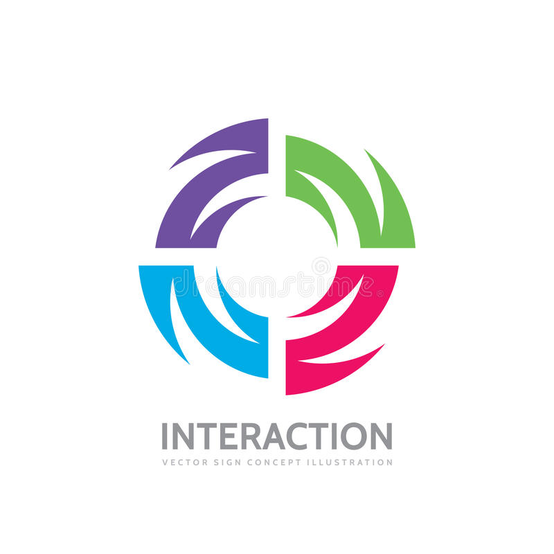 Interaction - vector logo template concept illustration. Alliance creative sign. Abstract shape symbol. Four color design element. Interaction - vector logo royalty free illustration