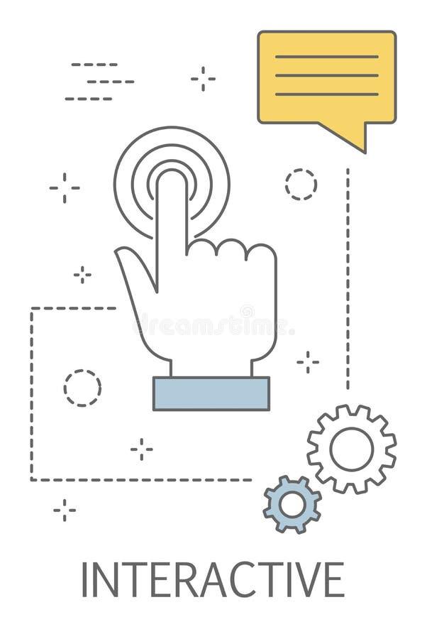 Interactive concept. Interaction through the touch screen. Interactive concept. Interaction with digital device through the touch screen. Press the button vector illustration