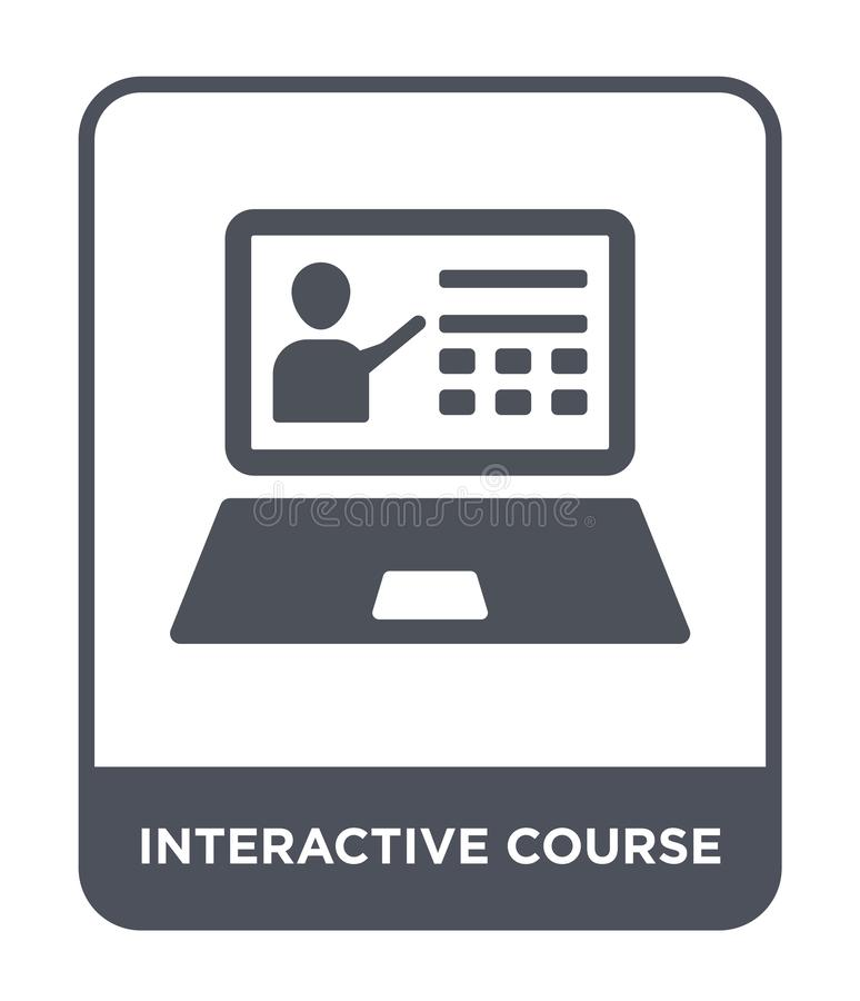 interactive course icon in trendy design style. interactive course icon isolated on white background. interactive course vector stock illustration