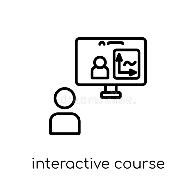 interactive course icon. Trendy modern flat linear vector interactive course icon on white background from thin line vector illustration