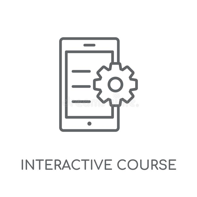 Interactive course linear icon. Modern outline interactive cours. E logo concept on white background from E-learning and education collection. Suitable for use stock illustration