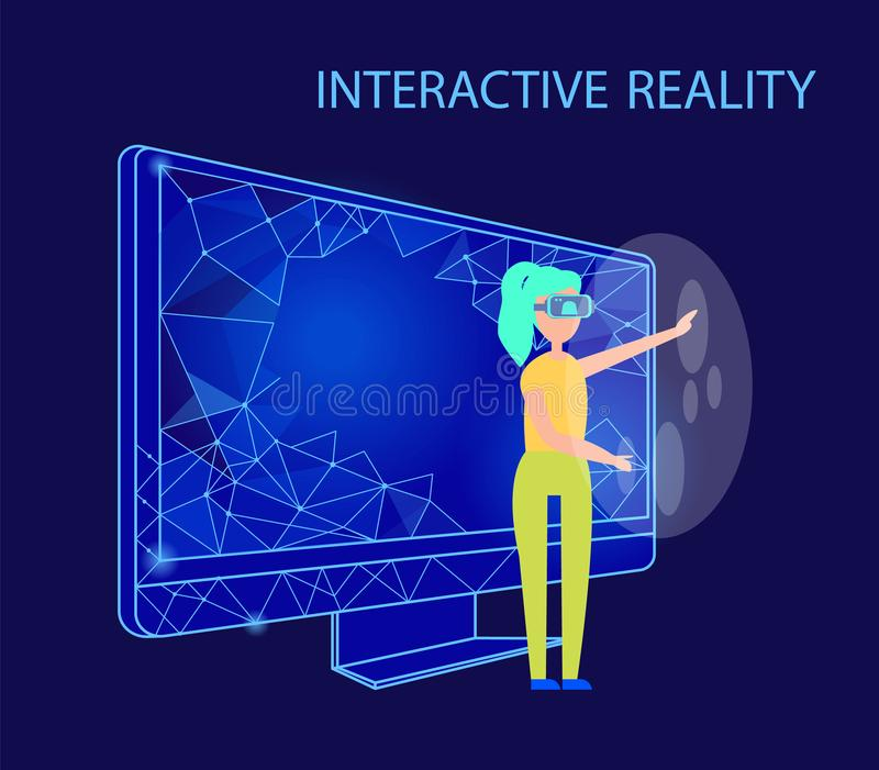 Interactive Reality Female Wearing Glasses Vector royalty free illustration