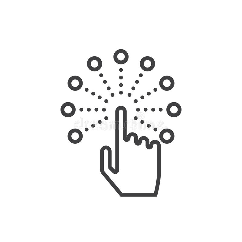 Interactive touch screen interface line icon, outline vector log. O illustration, linear pictogram isolated on white stock illustration