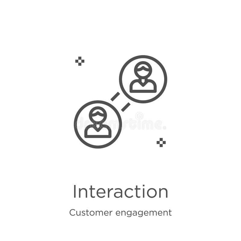 interakcji ikony wektor od klienta zobowiązania kolekcji Cienka kreskowa interakcja konturu ikony wektoru ilustracja Kontur, cien royalty ilustracja