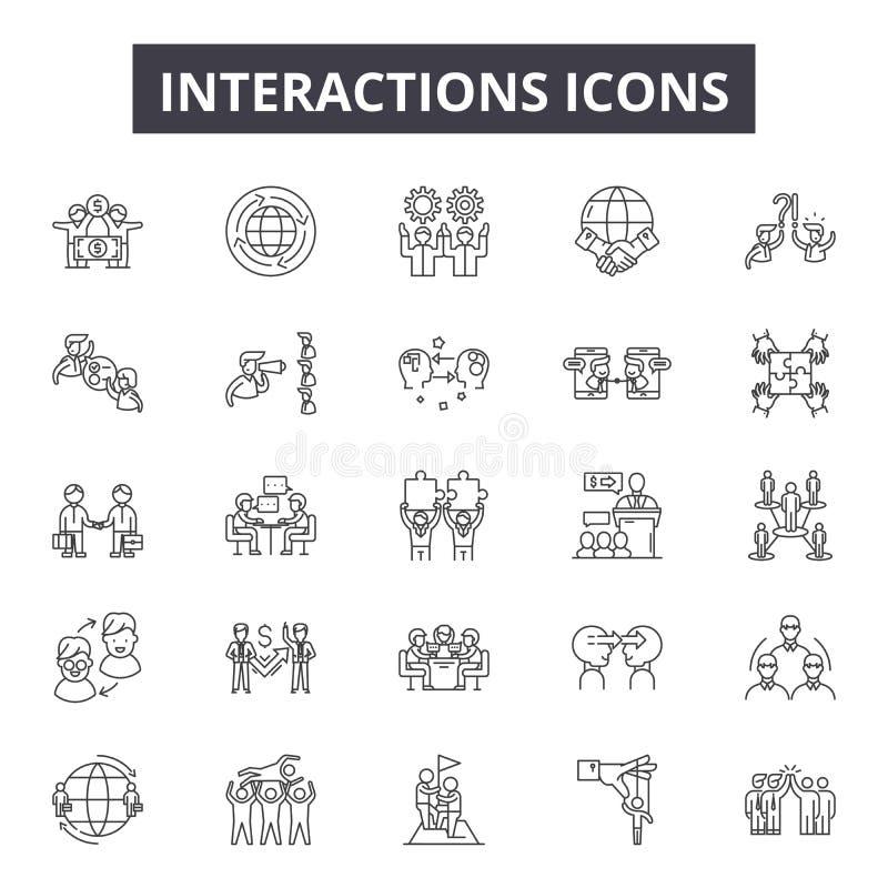 Interaktionen zeichnen Ikonen für Netz und beweglichen Entwurf Editable Anschlagzeichen Interaktionen umreißen Konzeptillustratio vektor abbildung