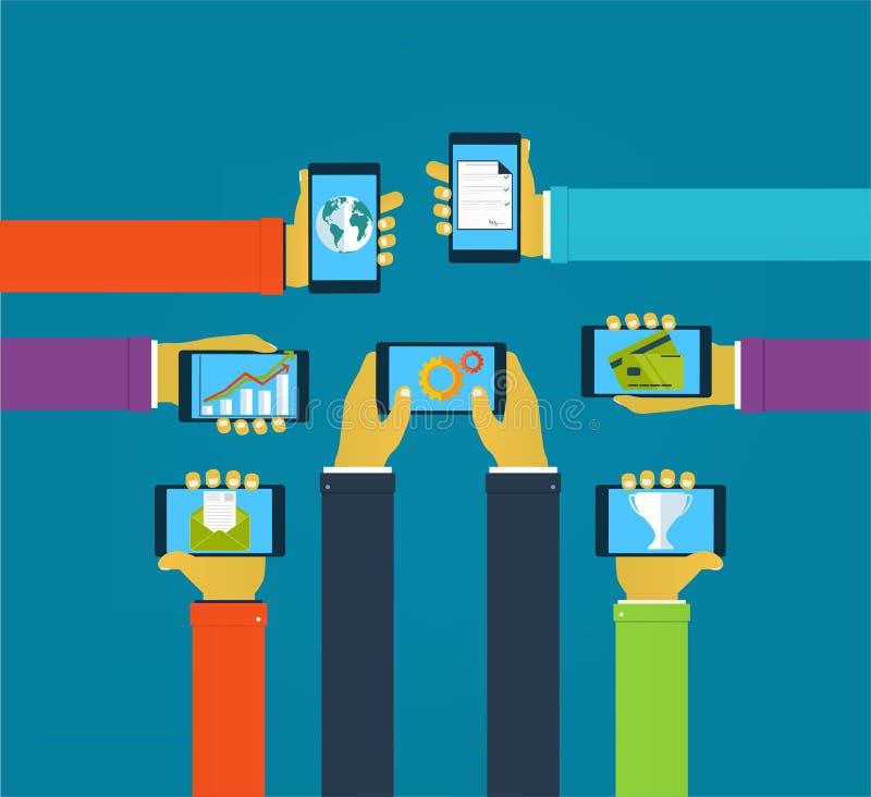 Interaktionshände unter Verwendung der beweglichen apps, Konzeptmobile apps lizenzfreie abbildung