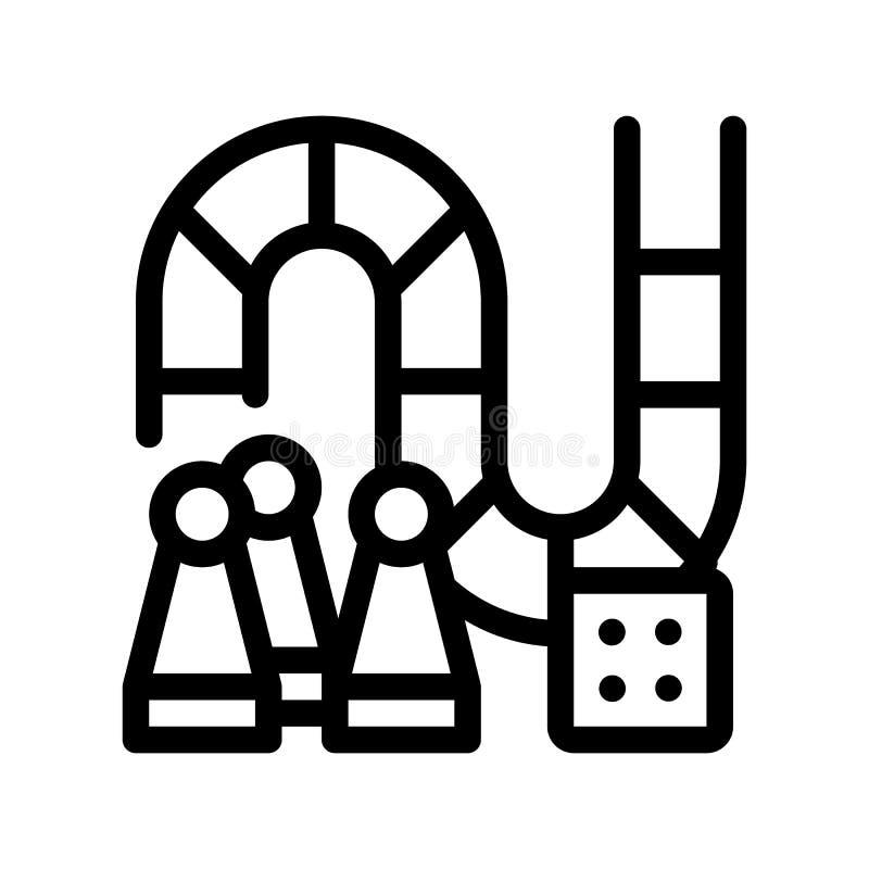Interaktywnego dzieciak gry planszowej wektoru Cienka Kreskowa ikona ilustracji