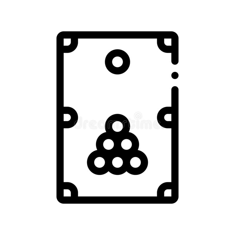 Interaktywnego Gemowego Bilardowego wektoru Cienka Kreskowa ikona ilustracji