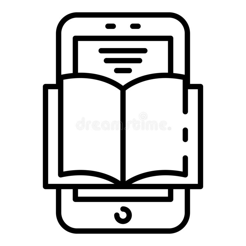 Interaktywnego uczenie ikona, konturu styl royalty ilustracja