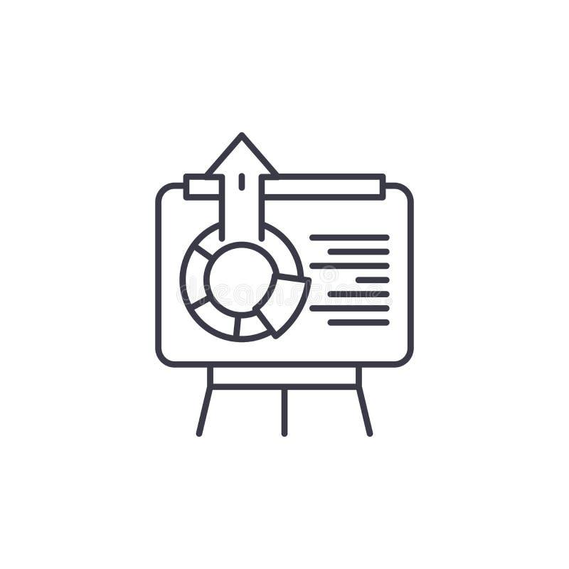 Interaktywnej prezentaci ikony liniowy pojęcie Interaktywny prezentaci linii wektoru znak, symbol, ilustracja royalty ilustracja