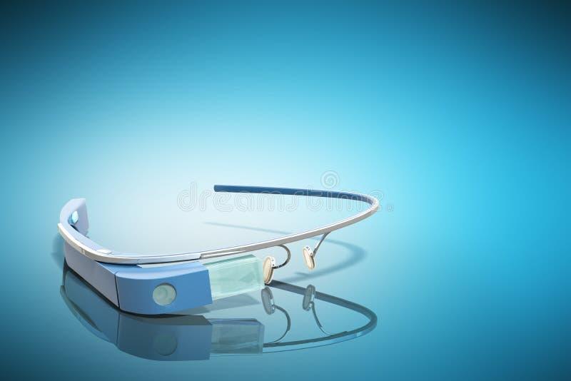 Interaktywni szkła 3d odpłacają się na błękitnej glansowanej plamie ilustracja wektor