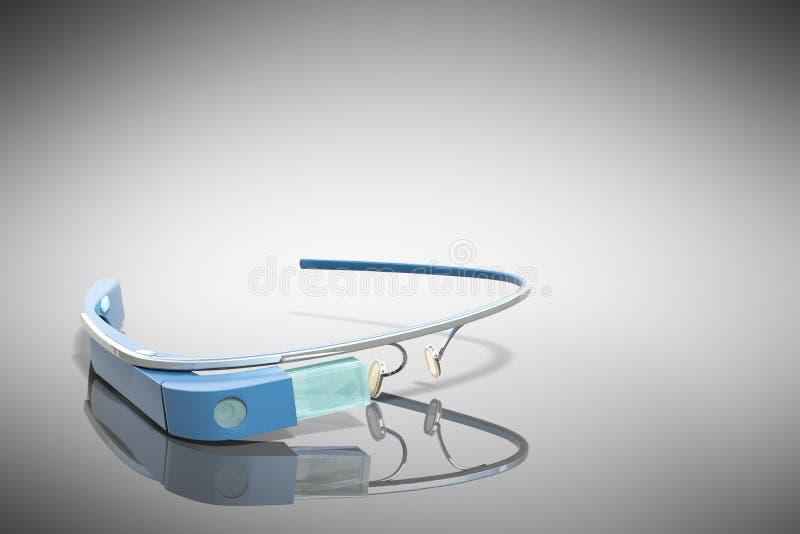 Interaktywni szkła 3d odpłacają się na popielatej glansowanej plamie royalty ilustracja