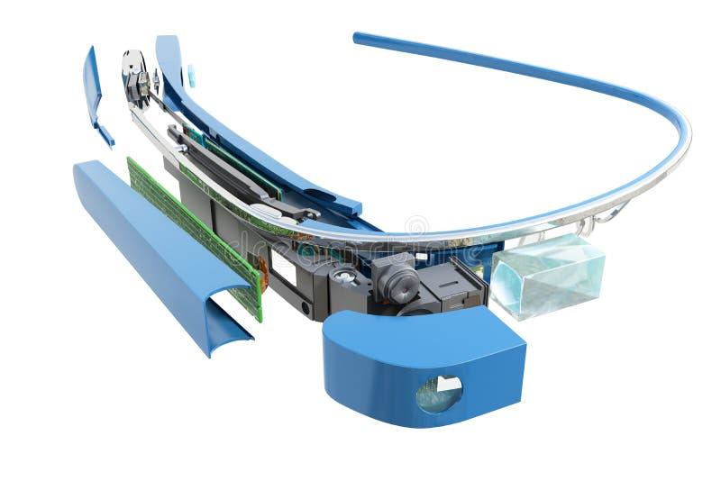 Interaktywni szkła Demontują w częściach 3d odpłacają się na błękitnej glosie royalty ilustracja