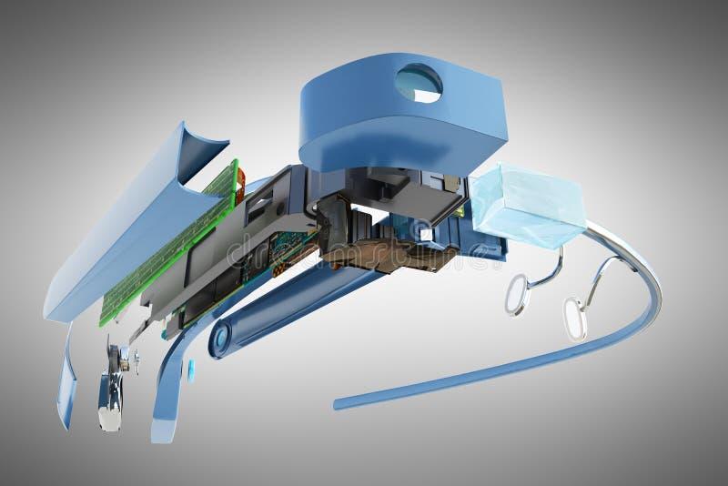Interaktywni szkła Demontują w częściach 3d odpłacają się na popielatym backg ilustracja wektor