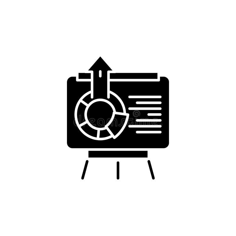 Interaktywny marketingowy prezentaci czerni ikony pojęcie Interaktywnej marketingowej prezentaci płaski wektorowy symbol, sig ilustracji