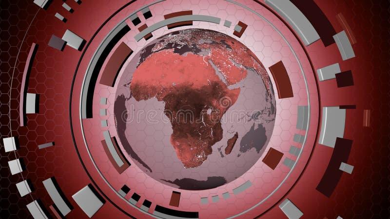 Interaktywny medialny hud z kulą ziemską ilustracja wektor