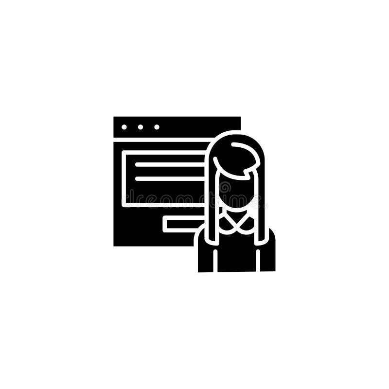 Interaktywny prezentaci czerni ikony pojęcie Interaktywnej prezentaci płaski wektorowy symbol, znak, ilustracja royalty ilustracja
