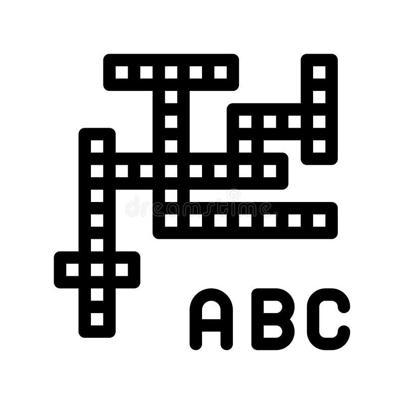Interaktywnych dzieciaków Crossword wektoru znaka Gemowa ikona ilustracja wektor