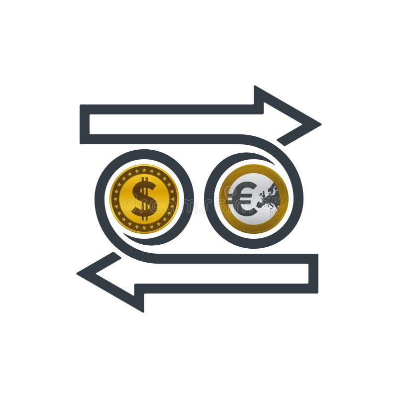 Intercambiar el dólar y el euro libre illustration