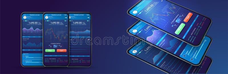Intercambio comercial app en la pantalla del teléfono Cryptocurrency bancario móvil UI UX Interfaz en línea de la compra y venta  libre illustration
