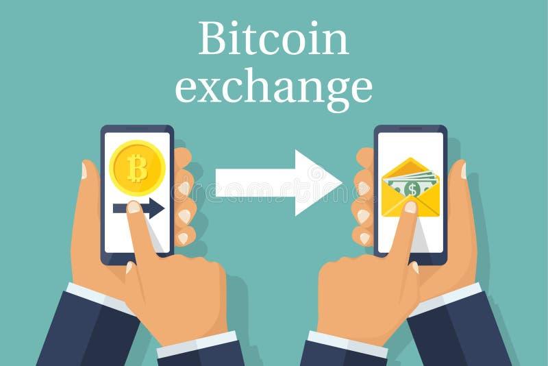 Intercambio de bitcoin de las monedas para el dólar stock de ilustración