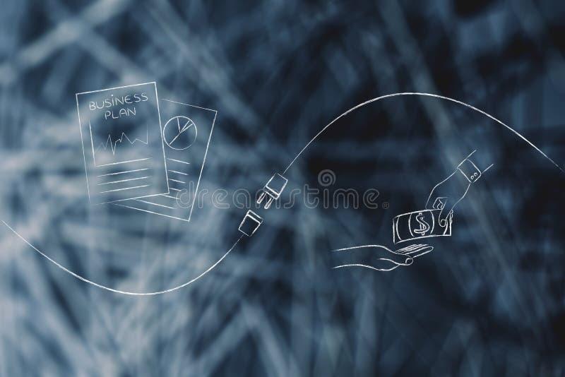 Intercambio de dinero del ` de los documentos y de los inversores del plan empresarial con el metap fotografía de archivo
