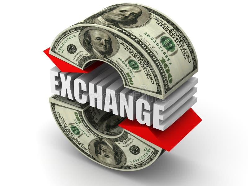 Intercambio de dinero en circulación. dólar libre illustration