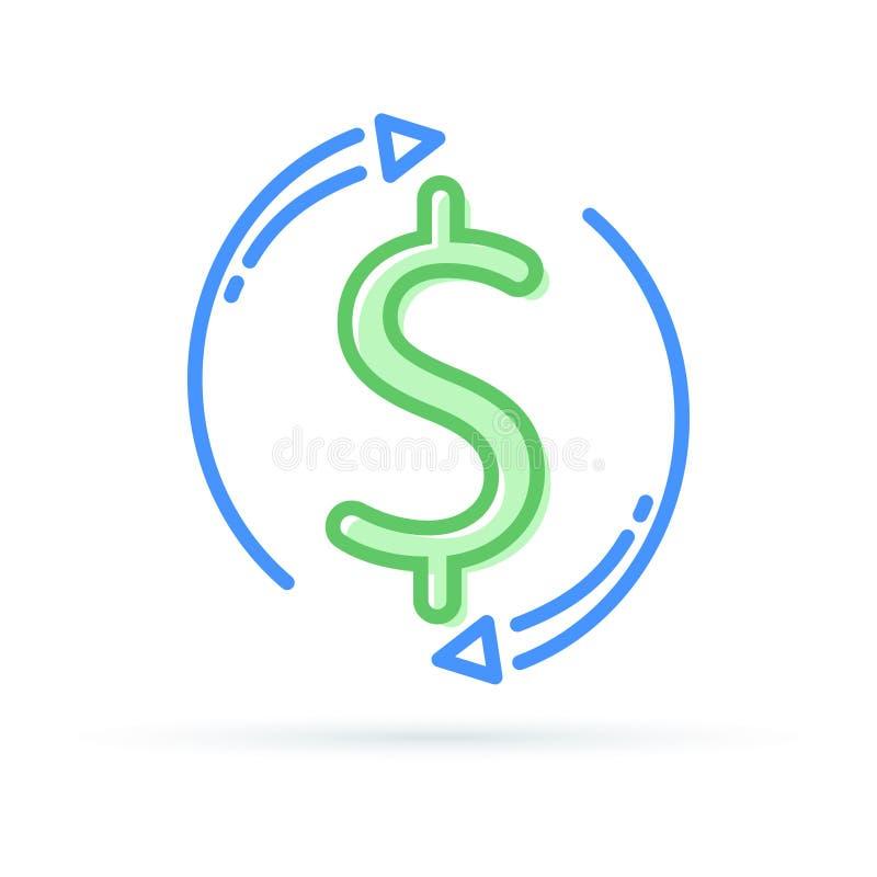 Intercambio de dinero en circulación La devolución de efectivo y la hipoteca rápida del préstamo financian de nuevo o devuelven C libre illustration