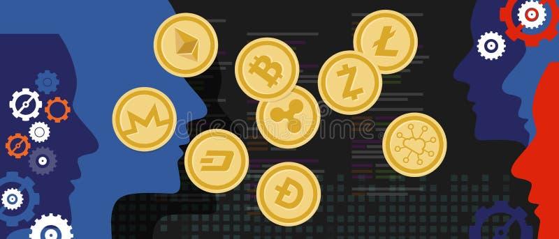 Intercambio de dinero virtual de la moneda digital determinada del bitcoin de la moneda de Cryptocurrency libre illustration