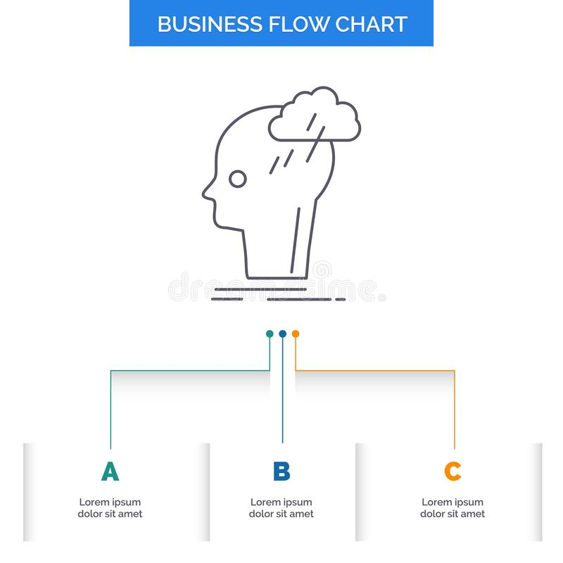 Intercambio de ideas, creativo, cabeza, idea, diseño de pensamiento del organigrama del negocio con 3 pasos L?nea icono para la p libre illustration