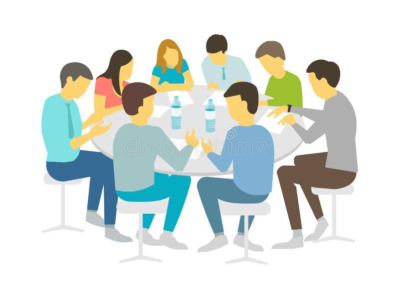 Intercambio de ideas redondo de las conversaciones de sobremesa Hombres de negocios del equipo que encuentran a personas de la co stock de ilustración