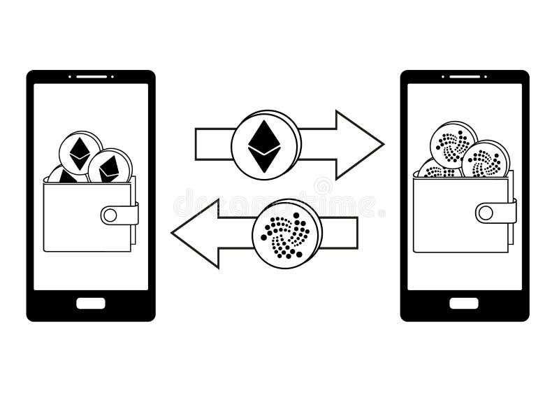 Intercambio entre el ethereum y la iota en el teléfono stock de ilustración