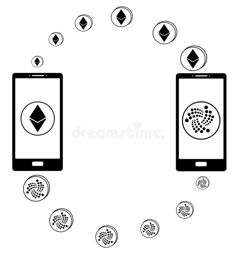 Intercambio entre el ethereum y la iota en el teléfono ilustración del vector