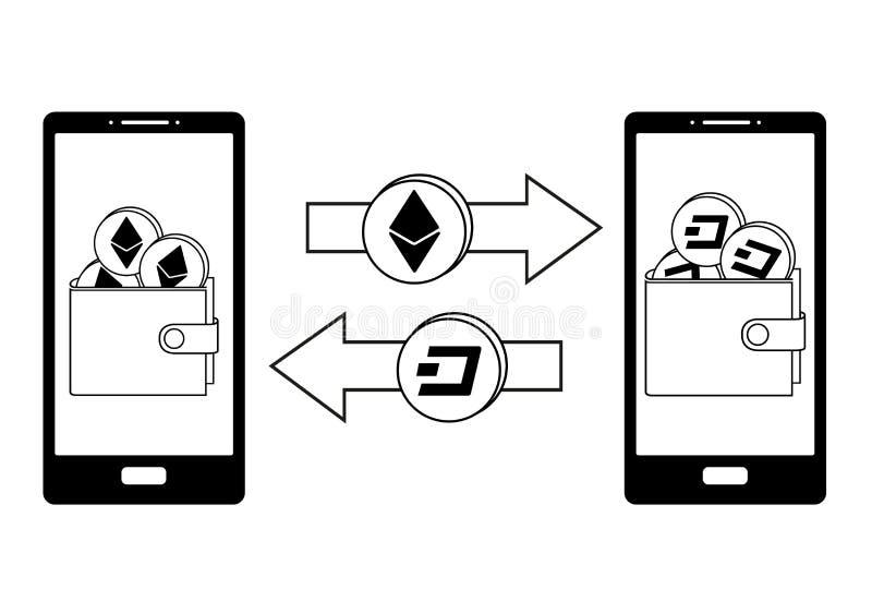 Intercambio entre el ethereum y la rociada en el teléfono stock de ilustración