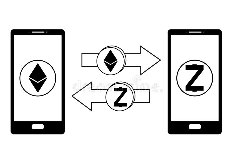 Intercambio entre el ethereum y el zcash en el teléfono stock de ilustración