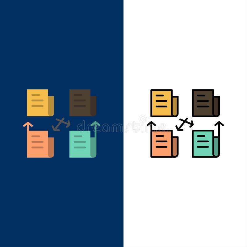 Intercambio, fichero, carpeta, datos, iconos de la aislamiento El plano y la línea icono llenado fijaron el fondo azul del vector stock de ilustración