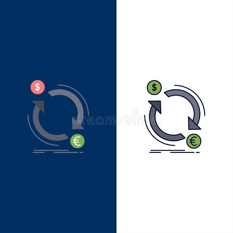 intercambio, moneda, finanzas, dinero, vector plano del icono del color del convertido ilustración del vector