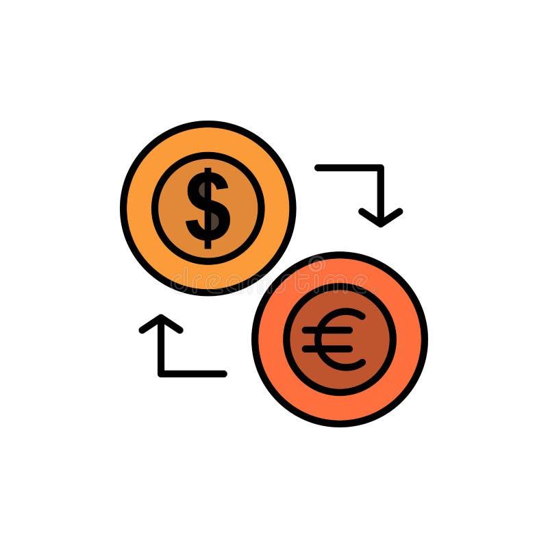 Intercambio, monedas, moneda, dólar, euro, finanzas, financieras, icono plano del color del dinero Plantilla de la bandera del ic ilustración del vector