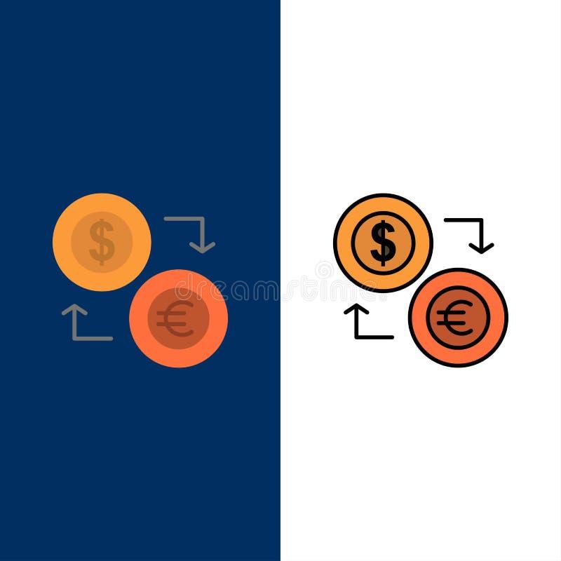 Intercambio, monedas, moneda, dólar, euro, finanzas, financieras, iconos del dinero El plano y la línea icono llenado fijaron el  libre illustration