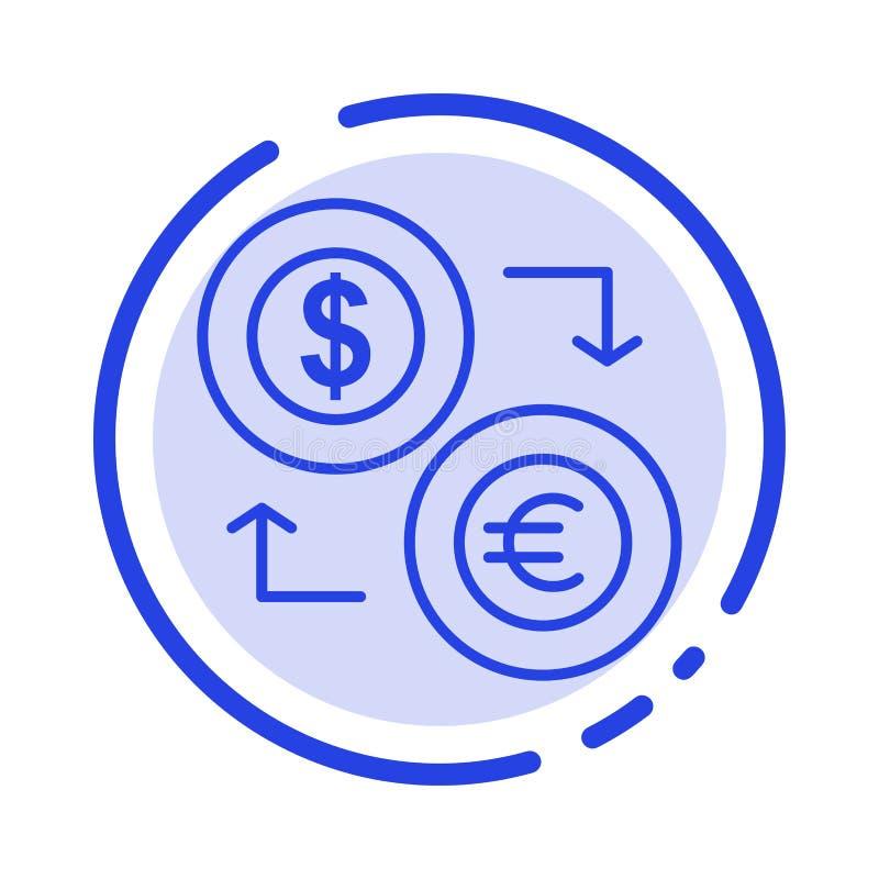 Intercambio, monedas, moneda, dólar, euro, finanzas, financieras, línea de puntos azul línea icono del dinero libre illustration