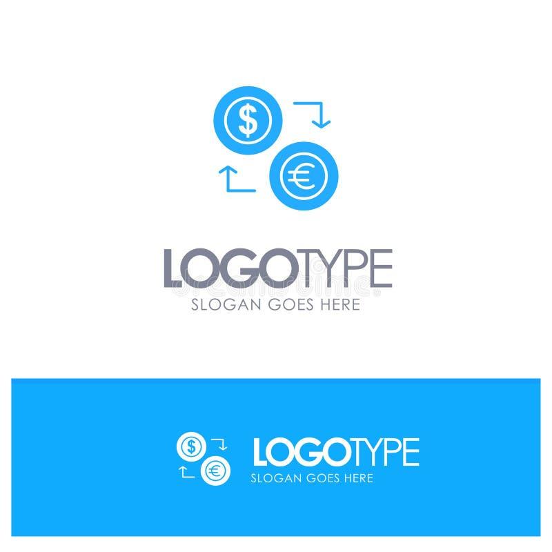 Intercambio, monedas, moneda, dólar, euro, finanzas, financieras, logotipo sólido azul del dinero con el lugar para el tagline stock de ilustración