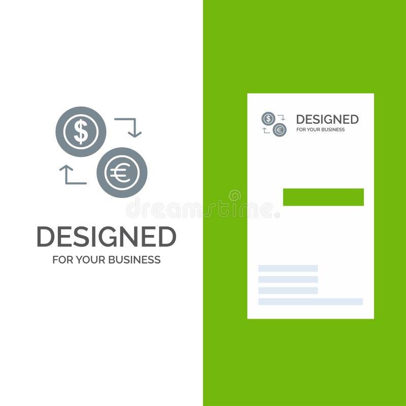 Intercambio, monedas, moneda, dólar, euro, finanzas, financiero, dinero Grey Logo Design y plantilla de la tarjeta de visita libre illustration