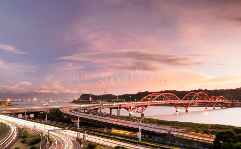 Interchange with cars light stock photos