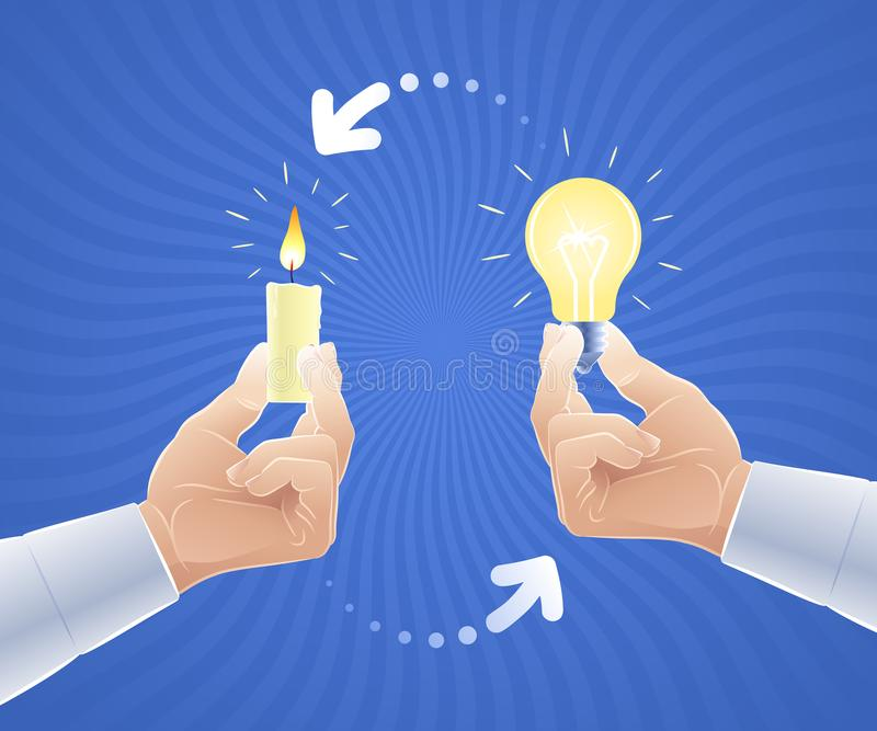 Interchange or replacement of an old idea for a new one vector illustration