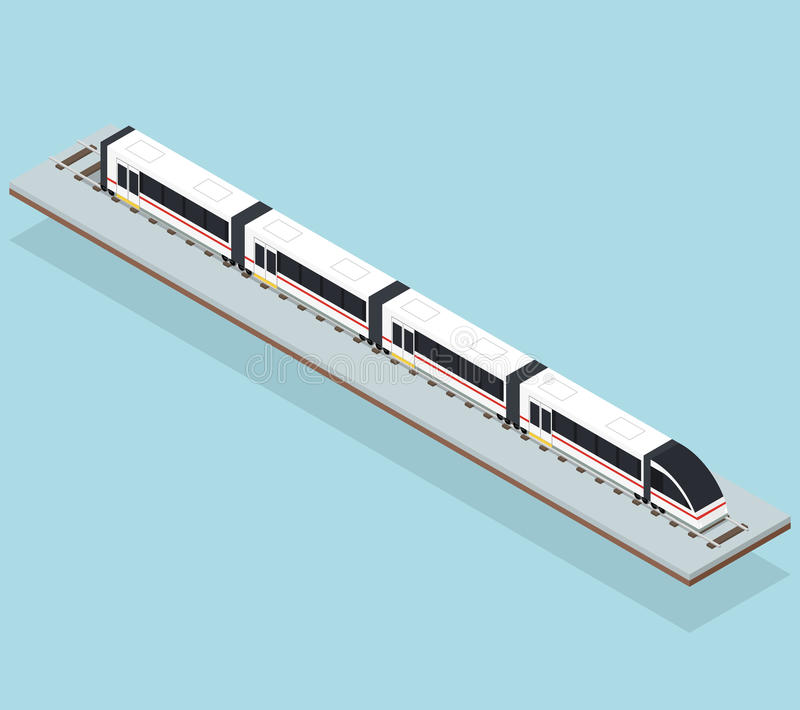 Intercity γρήγορο τραίνο Επίπεδος Isometric διανυσματική απεικόνιση