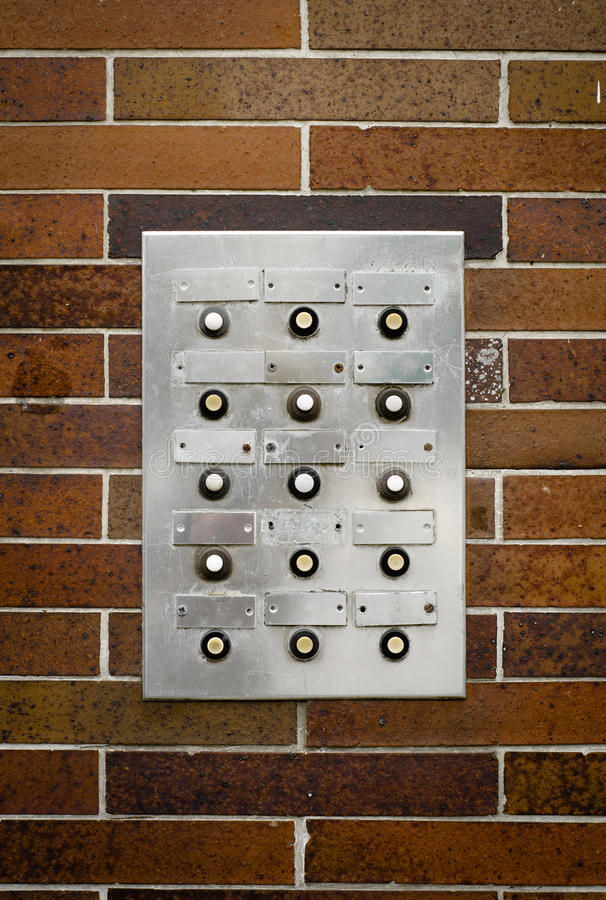 Intercomunicador sucio retro del apartamento imagen de archivo libre de regalías
