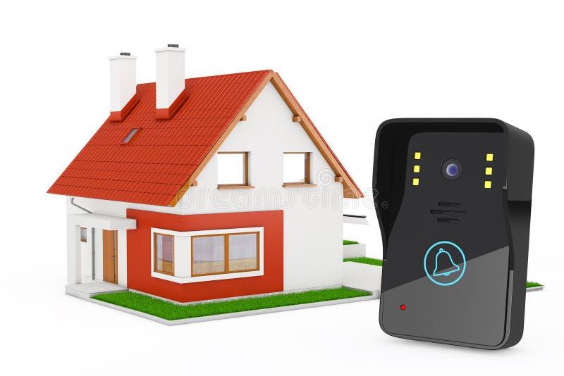 Intercomunicador video moderno cerca de la casa moderna de la cabaña con Red Roof stock de ilustración